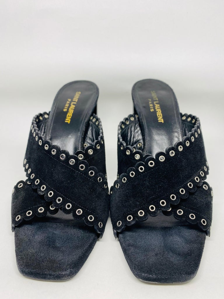 Saint Laurent Lou Black Suede Heel Mule Sandals Size 38.5 In Good Condition For Sale In  Beverly Hills, CA