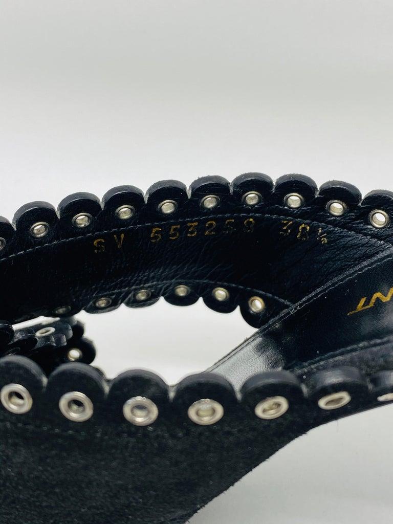 Saint Laurent Lou Black Suede Heel Mule Sandals Size 38.5 For Sale 5