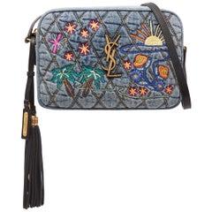 Saint Laurent Lou Leather-Trimmed Embroidered Quilted-Denim Shoulder Bag