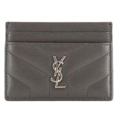 Saint Laurent LouLou Card Holder Matelasse Chevron Leather
