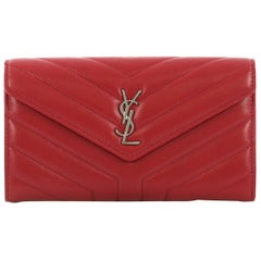 Saint Laurent Loulou Flap Wallet Matelasse Chevron Leather Large