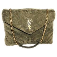 Saint Laurent Loulou Medium YSL Monogram Suede Flap Shoulder Bag