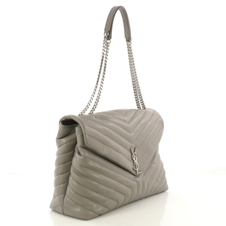 ce5d613a9bf This Saint Laurent LouLou Shoulder Bag Matelasse Chevron Leather Large,  crafted in gray matelasse chevron