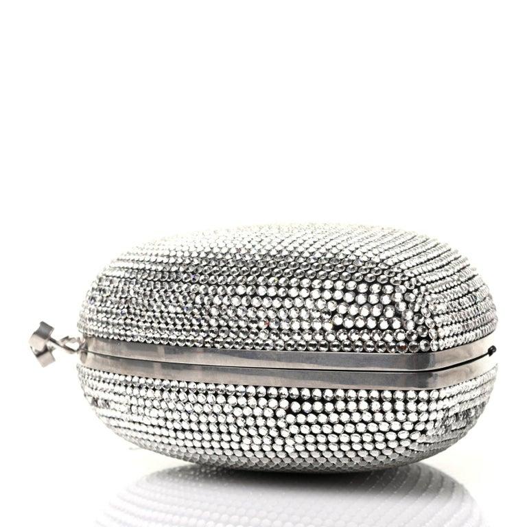Gray Saint Laurent Love Box Swarovski Crystal Heart Limited Edition Clutch (484049) For Sale