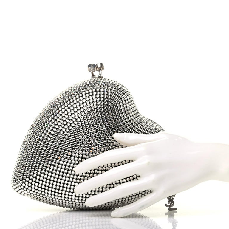 Saint Laurent Love Box Swarovski Crystal Heart Limited Edition Clutch (484049) For Sale 1