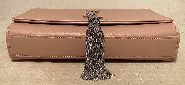 Saint Laurent Medium Kate Monogram Tassel Bag in Pale Pink In New Condition For Sale In Philadelphia, PA