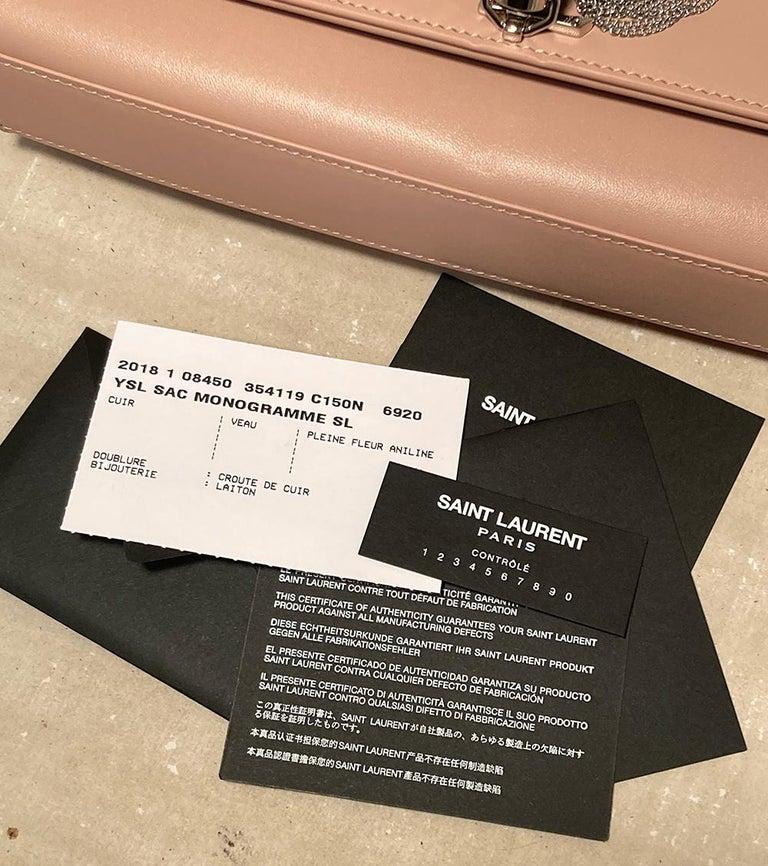 Saint Laurent Medium Kate Monogram Tassel Bag in Pale Pink For Sale 4