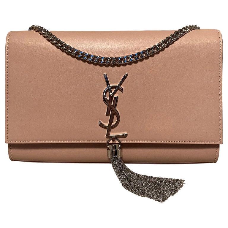 Saint Laurent Medium Kate Monogram Tassel Bag in Pale Pink For Sale