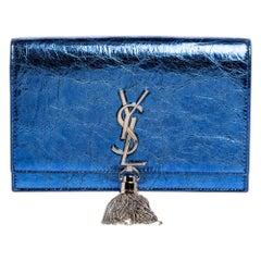 Saint Laurent Metallic Blue Crackled Leather Kate Tassel Wallet on Chain