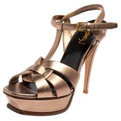 Saint Laurent Metallic Brown Leather Tribute Sandals Size 40