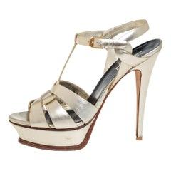 Saint Laurent Metallic Gold Leather Tribute Platform Ankle Strap Sandals Size 39