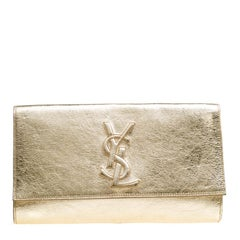 Saint Laurent Metallic Gold Patent Leather Belle De Jour Flap Clutch