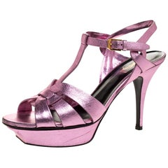Saint Laurent Metallic Pink Leather Tribute Platform Sandals Size 39.5