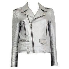 SAINT LAURENT metallic silver leather CLASSIC BIKER Jacket 40 M