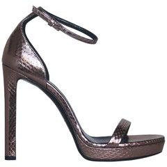 Saint Laurent Metallic Snake Effect Leather Platform Sandals
