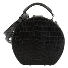 Saint Laurent Mica Hatbox Bag Crocodile Embossed Leather Small