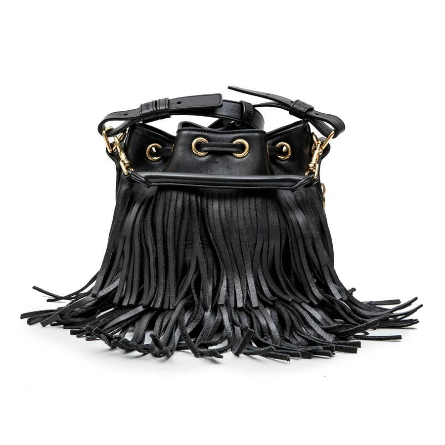 1stdibs Saint Laurent Mini emmanuelle Bucket Bag In Black Smooth Leather And Fringes 5sjuuJxbed