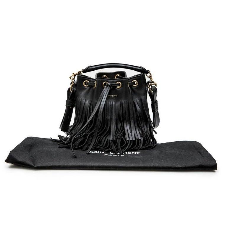 8461438198 SAINT LAURENT Mini 'Emmanuelle' Bucket Bag in Black Smooth Leather and  Fringes For Sale