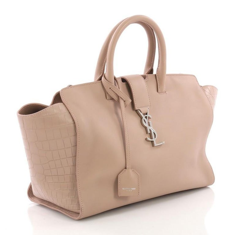 Beige Saint Laurent Monogram Cabas Downtown Leather with Crocodile Embossed Leather For Sale