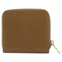 Saint Laurent Monogram Compartment Zip Around Wallet Leather Compact