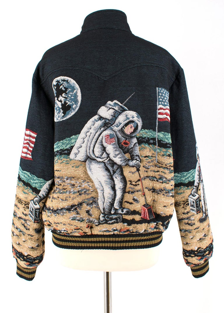 Black Saint Laurent Moon Tapestry Bomber Jacket - Current Season estimated SIZE S For Sale