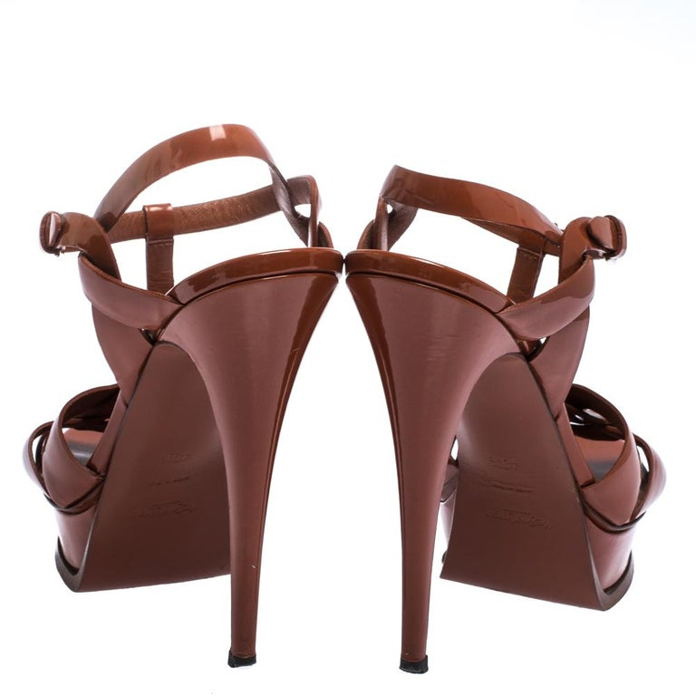 Women's Saint Laurent Mud Brown Patent Leather Tribute Platform Sandals Size 40.5 For Sale