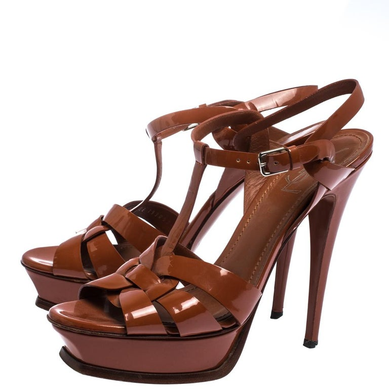 Saint Laurent Mud Brown Patent Leather Tribute Platform Sandals Size 40.5 For Sale 3