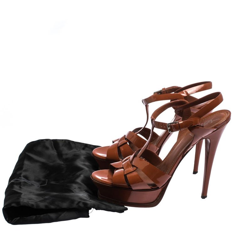 Saint Laurent Mud Brown Patent Leather Tribute Platform Sandals Size 40.5 For Sale 4
