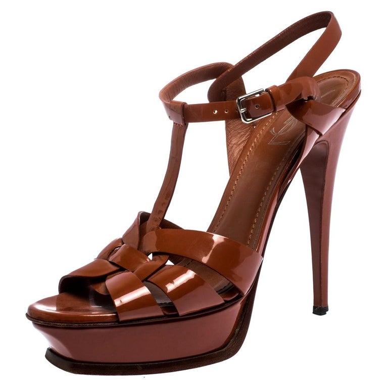 Saint Laurent Mud Brown Patent Leather Tribute Platform Sandals Size 40.5 For Sale