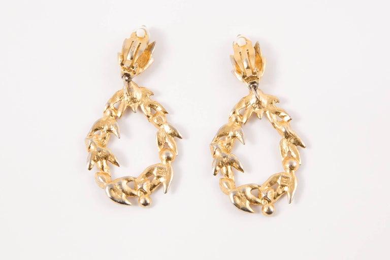 Saint Laurent Multico Drop Gold Tone Clip On Earrings In Excellent Condition For Sale In Paris, FR