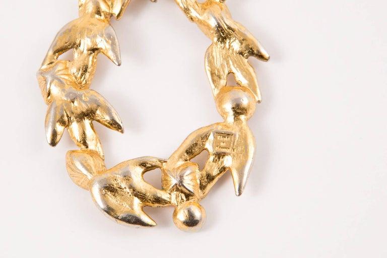 Women's  Saint Laurent Multico Drop Gold Tone Clip On Earrings For Sale