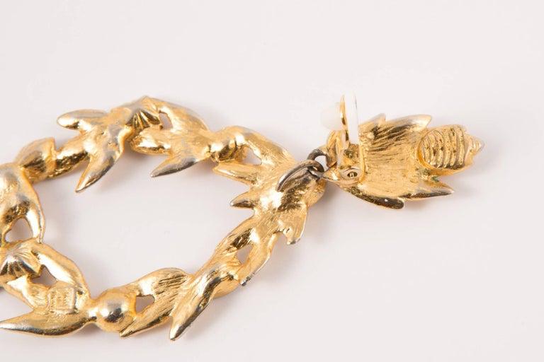 Saint Laurent Multico Drop Gold Tone Clip On Earrings For Sale 1