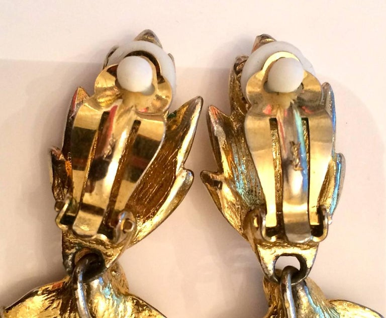 Saint Laurent Multico Drop Gold Tone Clip On Earrings For Sale 2