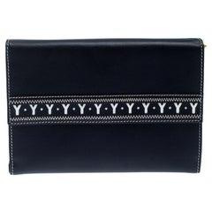 Saint Laurent Navy Blue Leather Bifold Wallet