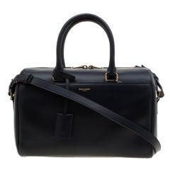 Saint Laurent Navy Blue Leather Classic Duffle 6 Bag