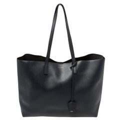 Saint Laurent Navy Blue Leather E/W Shopping Tote