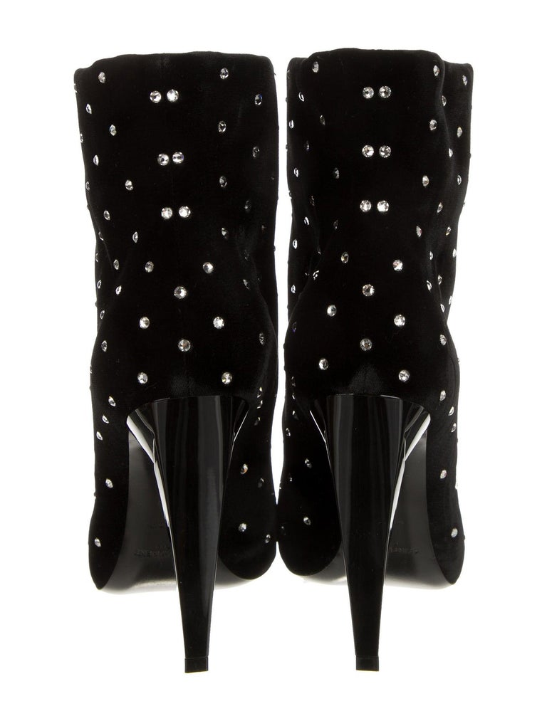 Women's Saint Laurent NEW Black Velvet Rhinestone Evening Ankle Boots Booties in Box For Sale