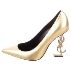 Saint Laurent NEW Gold Leather YSL Logo Evening Sandals Heels Pumps