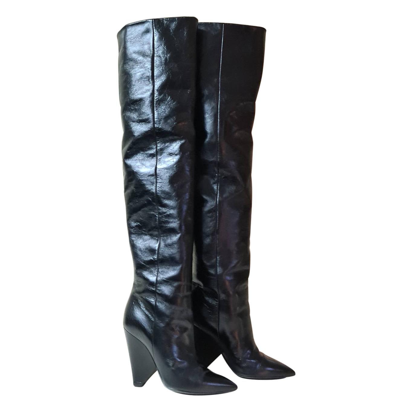 SAINT LAURENT Niki Black Leather Knee Boots