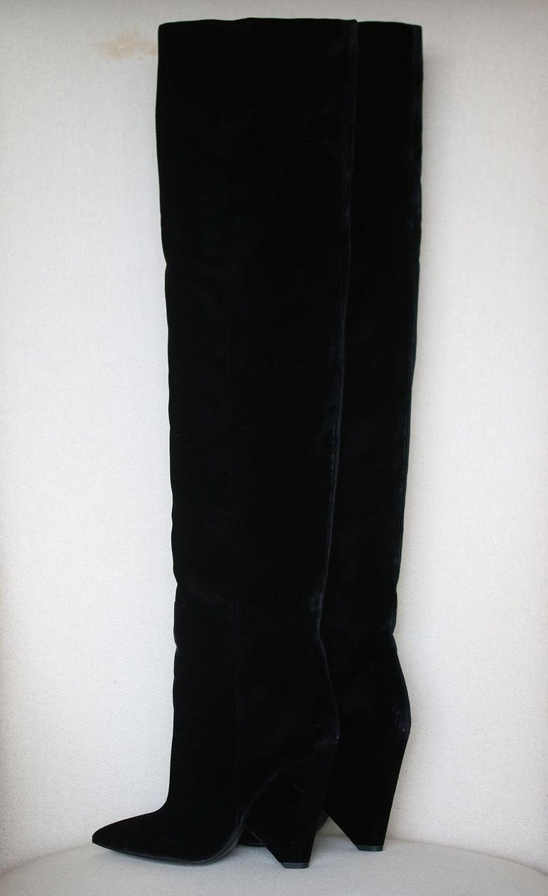 Saint Laurent Niki Velvet Over-The-Knee Boots  For Sale 1
