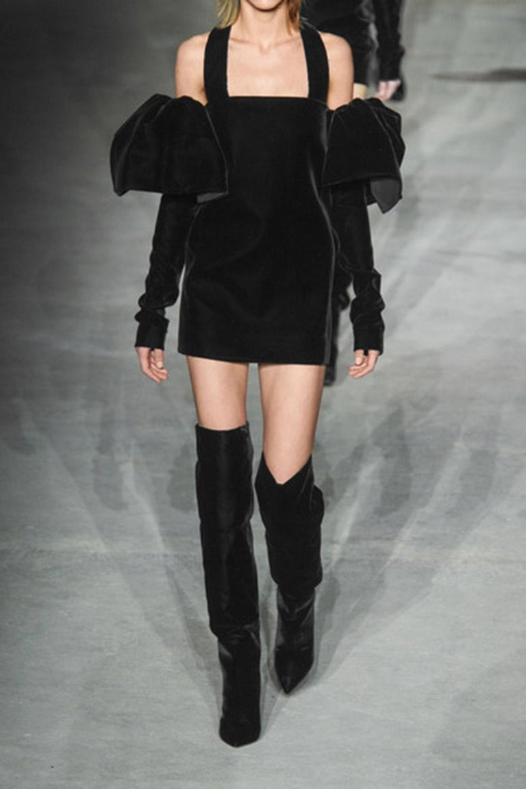 Saint Laurent Niki Velvet Over-The-Knee Boots  For Sale 4
