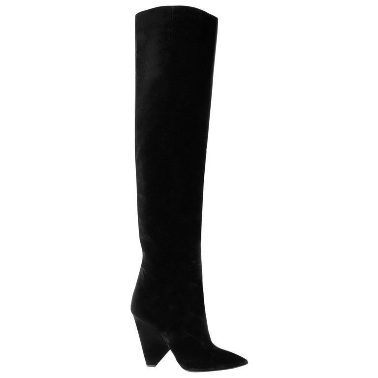 Saint Laurent Niki Velvet Over-The-Knee Boots  For Sale