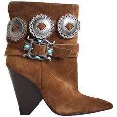 Saint Laurent Niki Western Suede Ankle Boots