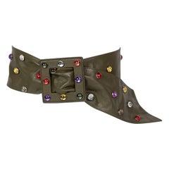 Saint Laurent Olive Green Wide Leather Jewel Belt YSL, 1980s