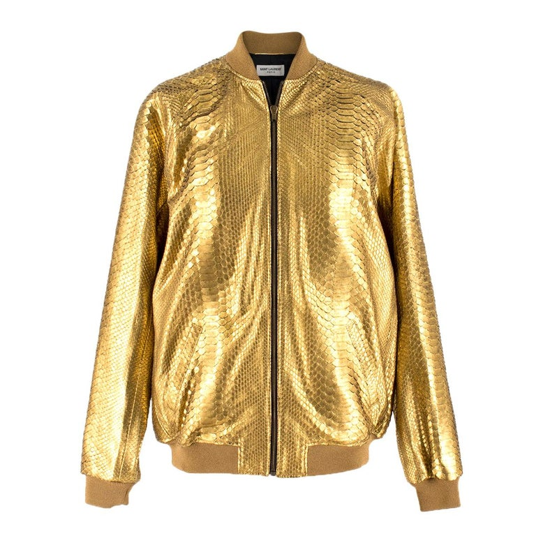 fac28a0487b Saint Laurent one of a kind Gold Bomber Jacket - Unisex For Sale at ...