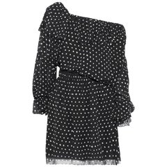 Saint Laurent One-Shoulder Polka Dot Silk-Georgette Mini Dress