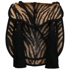 Saint Laurent Opium II Zebra-Print Pony-Hair Bag
