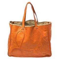 Saint Laurent Orange Leather Charms Tote
