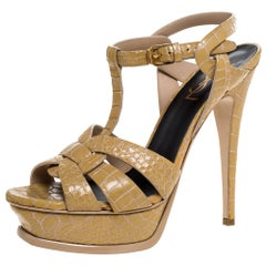 Saint Laurent Paris Beige Croc Embossed Leather Tribute Sandals Size 38