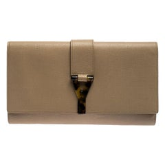 Saint Laurent Paris Beige Leather Y-Ligne Clutch